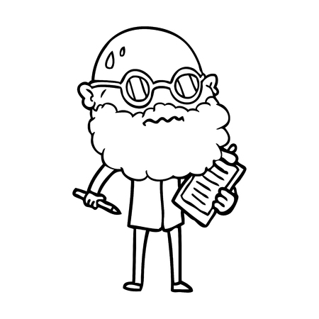 cartoon worried man with beard and sunglasses taking survey