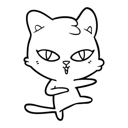 Hand drawn cartoon cat  イラスト・ベクター素材