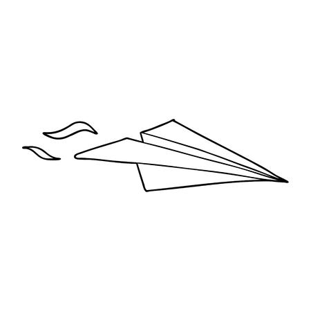 Hand drawn cartoon paper airplane Stock Illustratie