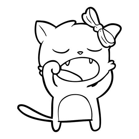 cartoon yawning cat Illustration