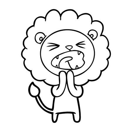 Hand drawn cartoon lion praying