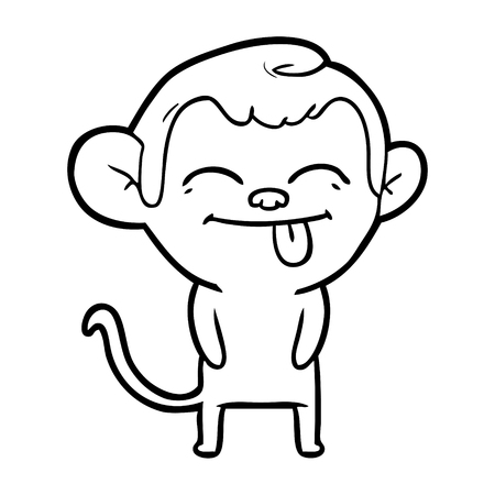 funny cartoon monkey Ilustração