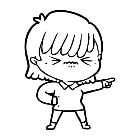 annoyed cartoon girl pointing Ilustração