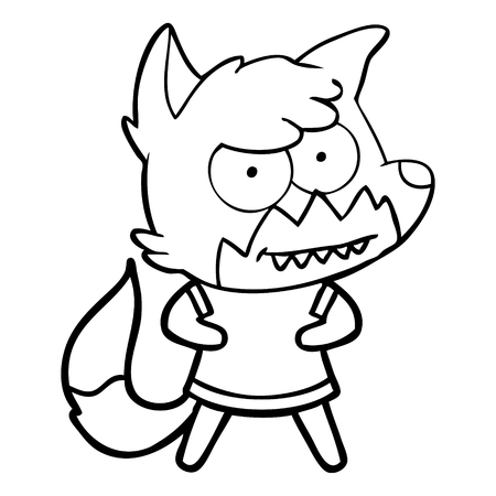 Hand drawn cartoon grinning fox Illustration