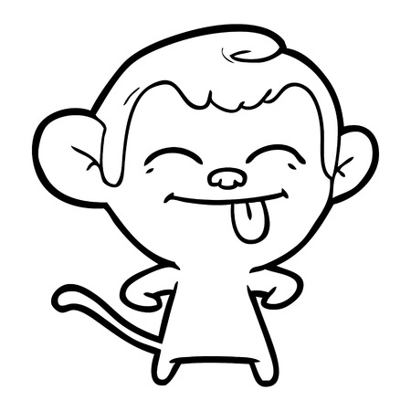 Hand drawn funny cartoon monkey Çizim