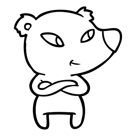 Hand drawn cute cartoon bear with crossed arms