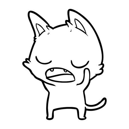 Hand drawn talking cat cartoon Stock Illustratie