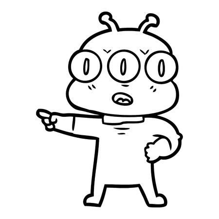 Hand drawn cartoon three eyed alien