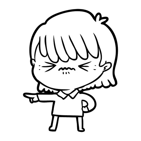 Hand drawn annoyed cartoon girl making accusation