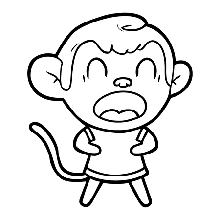 Hand drawn shouting cartoon monkey Stock fotó - 95761283