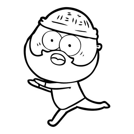 Hand drawn cartoon bearded man running away