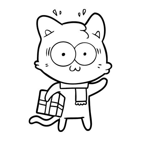 Hand drawn cartoon surprised cat with Christmas present Illustration