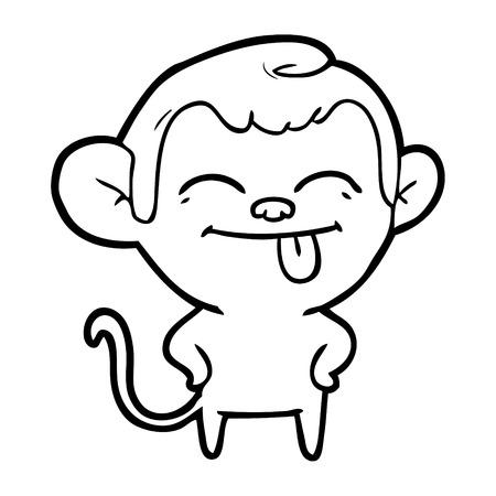 Hand drawn funny cartoon monkey Illustration