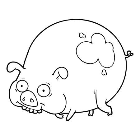 만화 진흙 돼지 일러스트