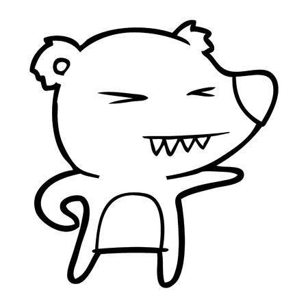 Hand drawn angry bear cartoon