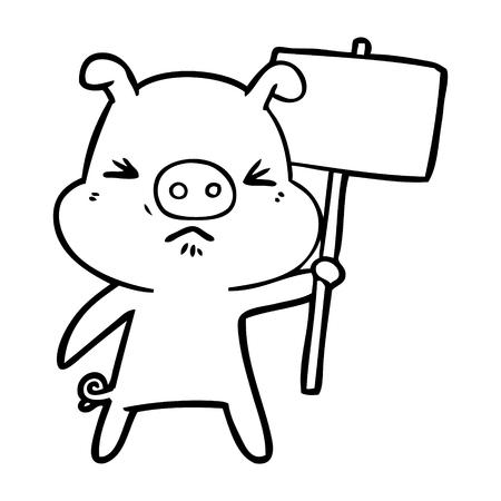 Hand drawn cartoon angry pig Ilustração
