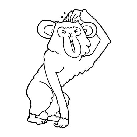 Hand drawn cartoon chimp scratching head Stock Illustratie