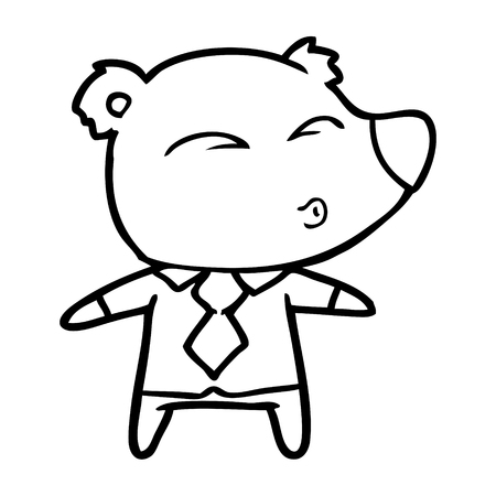 Hand drawn cartoon whistling bear boss Ilustração