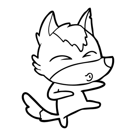 Hand drawn cartoon wolf whistling