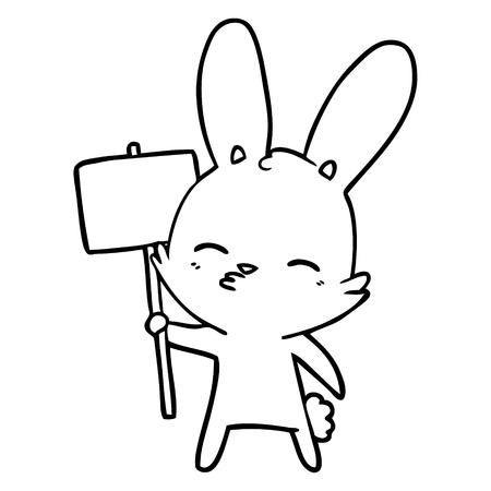 curious bunny cartoon with placard