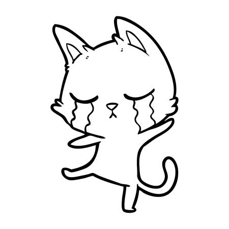 Hand drawn crying cartoon cat performing a dance Illusztráció