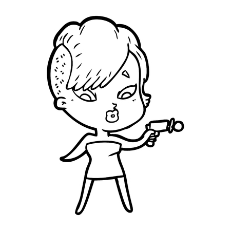 Hand drawn cartoon surprised girl Illustration