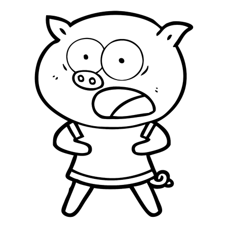 Hand drawn cartoon pig shouting Ilustrace