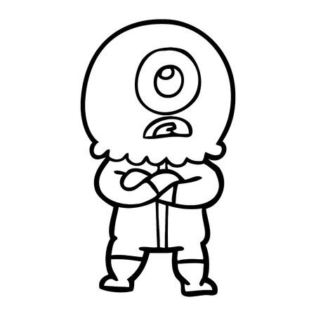 Hand drawn annoyed cartoon cyclops alien spaceman