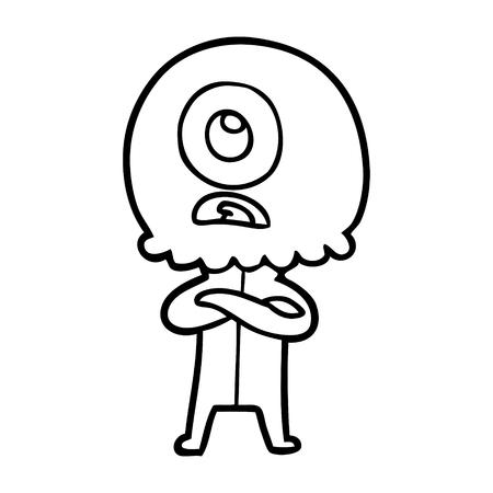 cartoon cyclops alien spaceman Illustration
