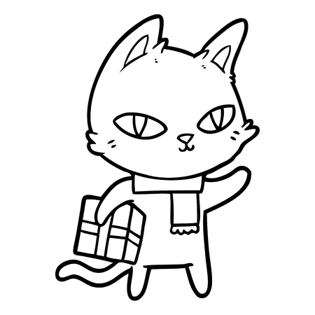 Hand drawn cartoon cat with gift