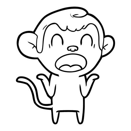 Hand drawn shouting cartoon monkey shrugging shoulders