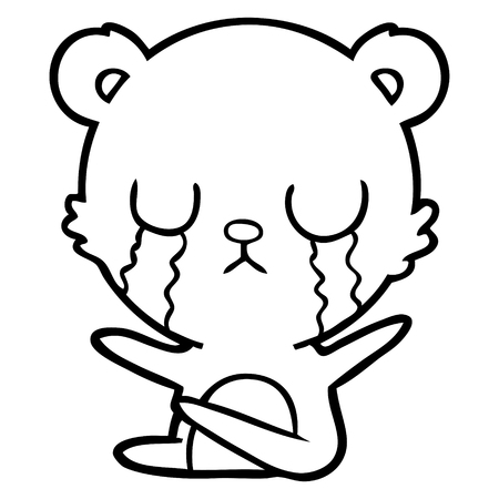 Sad and weeping bear cartoon Illustration