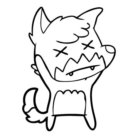 Cross eyed fox cartoon Illusztráció