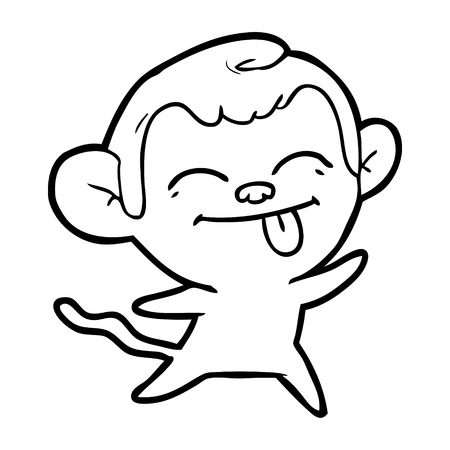 Funny monkey with tongue sticking out cartoon 일러스트