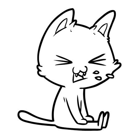 Cartoon sitting cat hissing Çizim