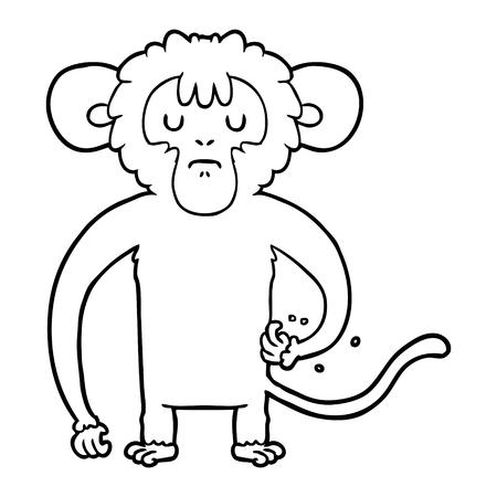 Sad scratching monkey cartoon