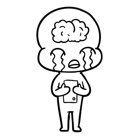 cartoon big brain alien crying Vector illustration.