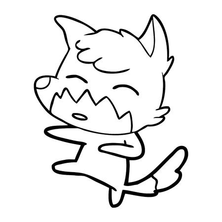 Exhausted cute fox cartoon 向量圖像