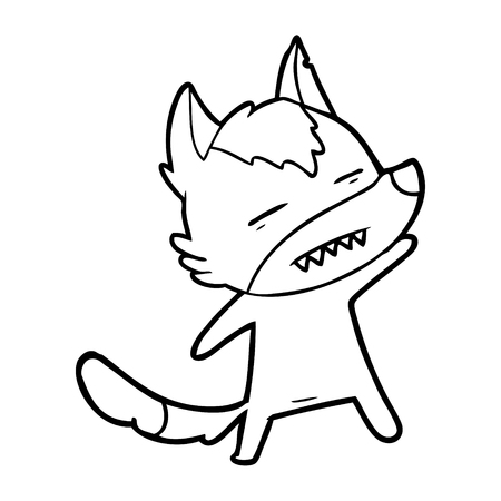 Cute wolf showing teeth with eyes closed cartoon