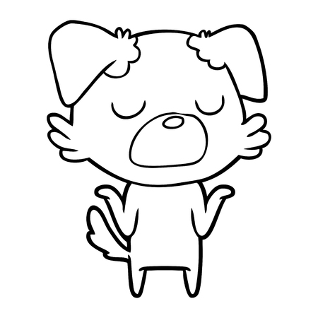 Cartoon dog shrugging shoulders