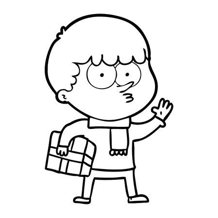 cartoon curious boy carrying a gift Vector illustration.