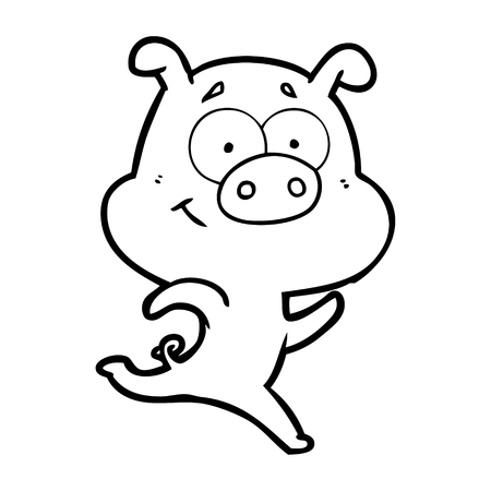 happy cartoon pig running