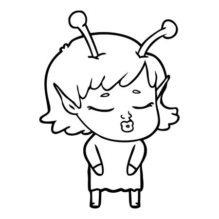 Indifferent but cute alien girl cartoon Ilustração