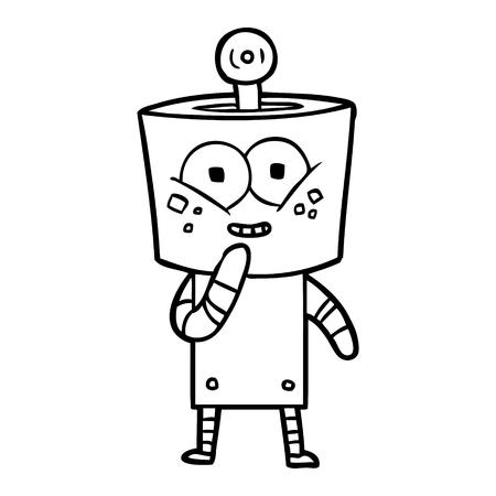 Happy robot giggling cartoon Illustration