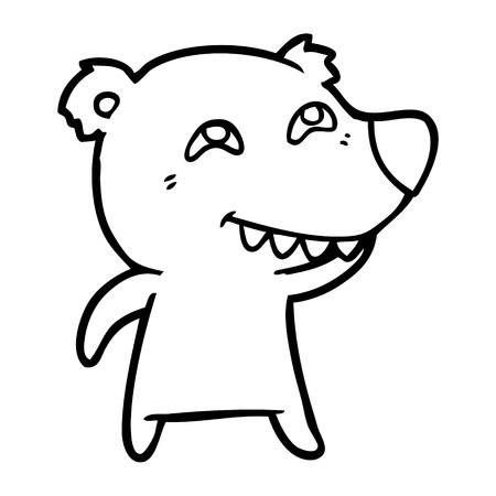 Charming polar bear showing teeth cartoon Ilustracja