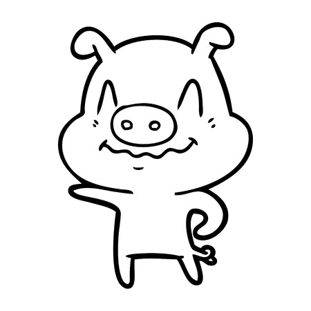 Nervous but pleased pig cartoon Ilustração