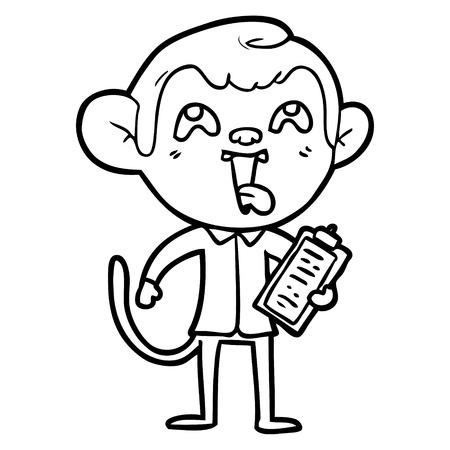 crazy cartoon monkey with clipboard Vector illustration.