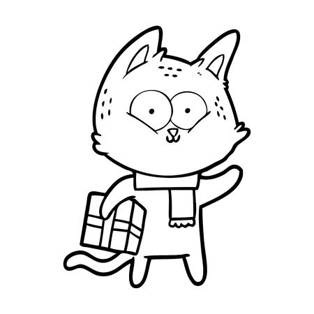cartoon cat holding christmas present