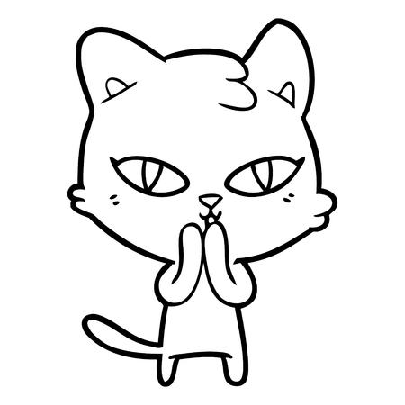 Shy cute kitten cartoon Illusztráció