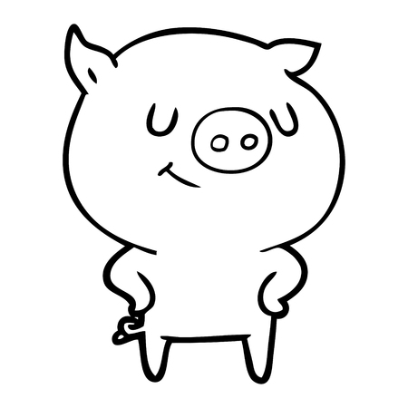 Confident and contented pig cartoon